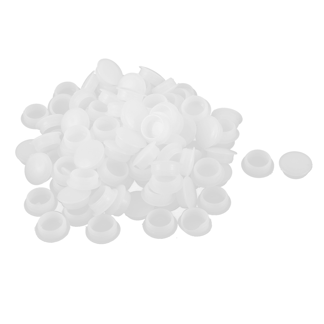 Plastic Round Head Hole End Cap Cover Pipe Tube Inserts Off White 15mm 100pcs
