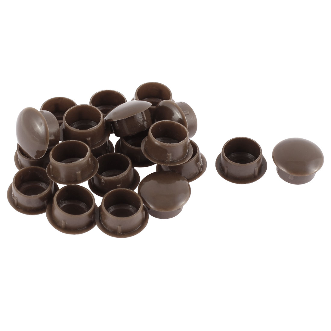 Furniture Plastic 14mm Hole Drill Cover Plugs Flush Type Coffee Color 20pcs