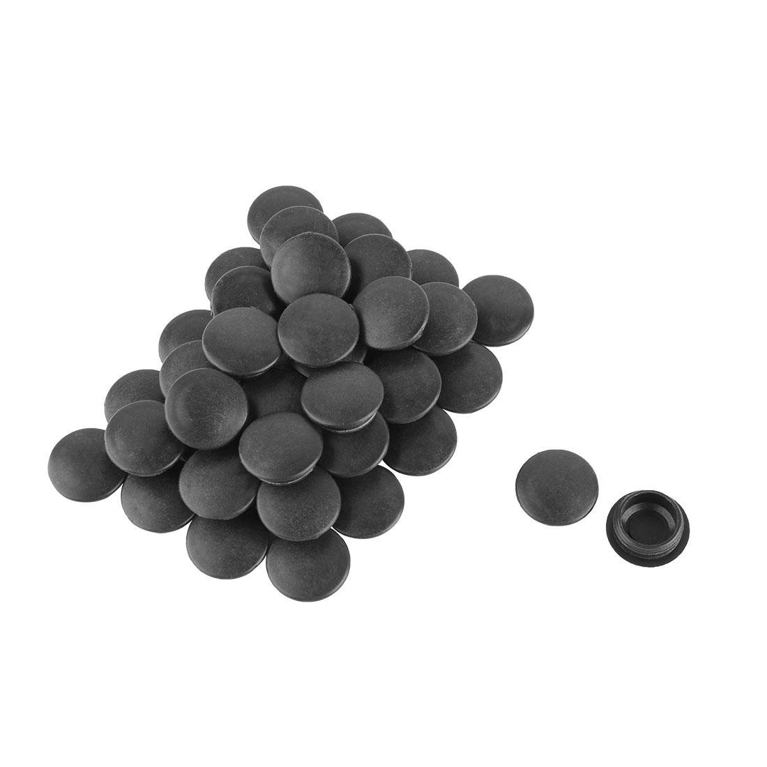 Plastic Flush Type Locking Hole Caps Covers Bung Tube Insert Black 17mm Dia 40pcs