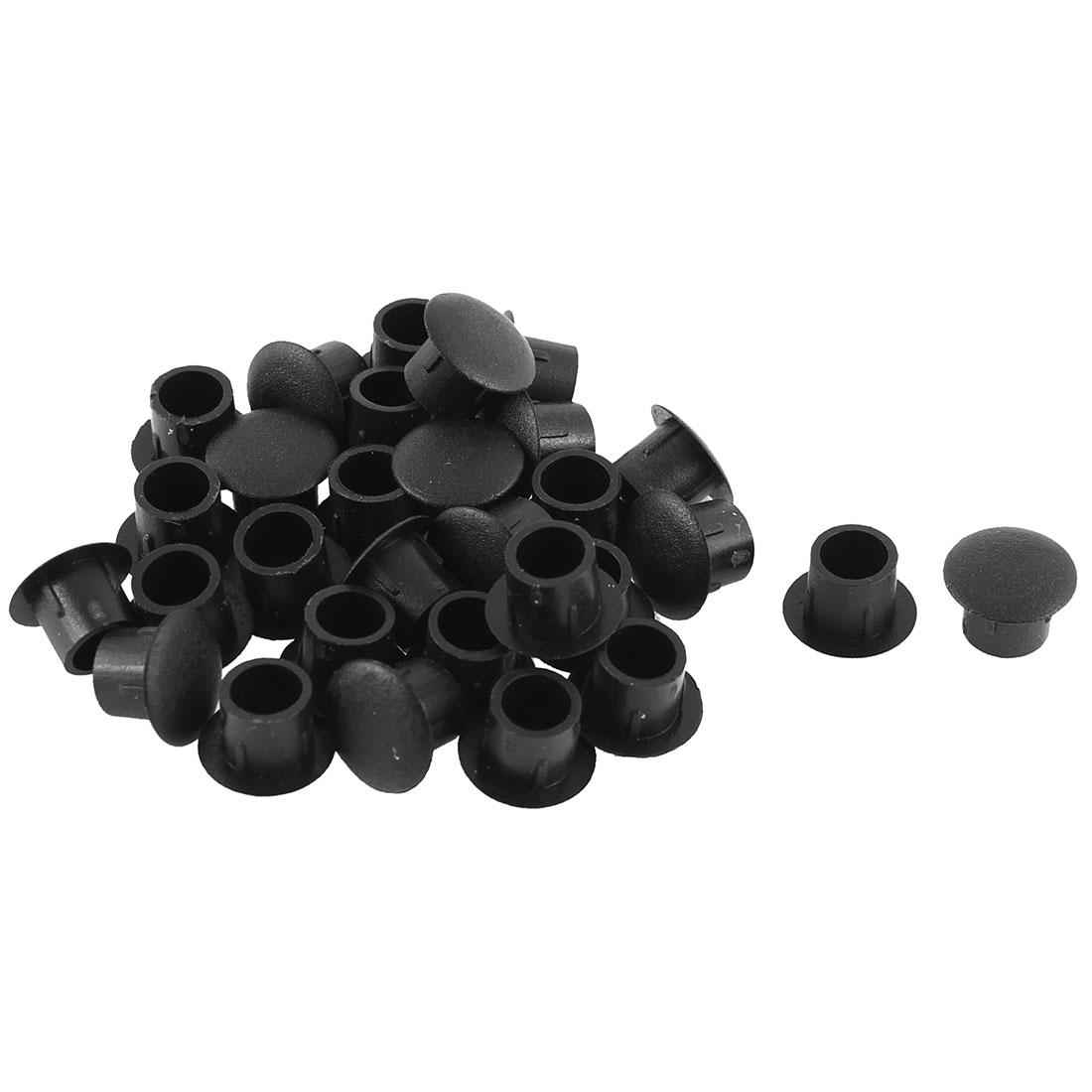 Home Kitchen Plastic Cabinet Decor Hole Cover Tube Insert Black 8mm Dia 30pcs