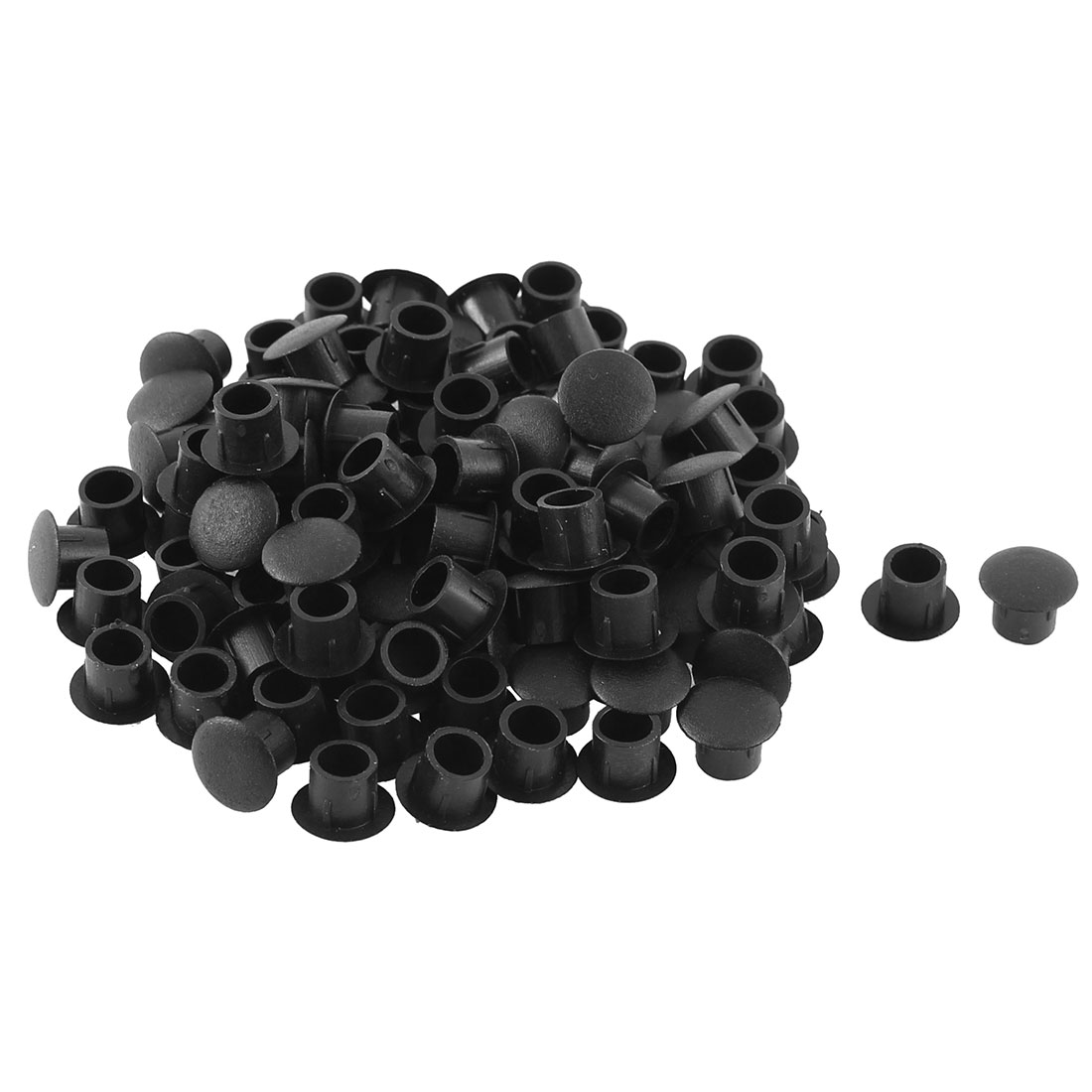 Home Kitchen Plastic Cabinet Locking Hole Cover Tube Insert Black 8mm Dia 100pcs
