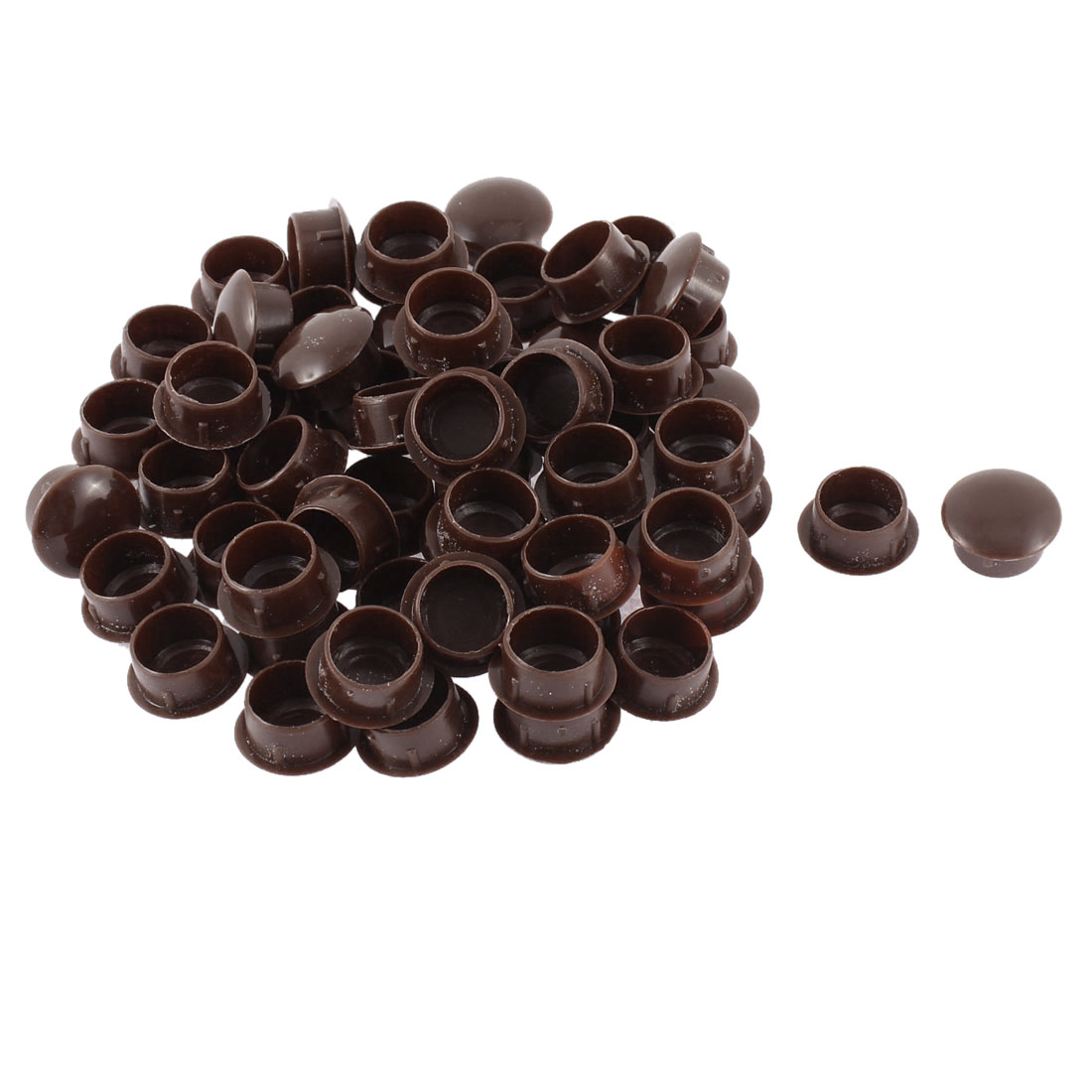 Home Plastic Furniture Hole Cover Caps Tube Insert Coffee Color 14mm Dia 60pcs