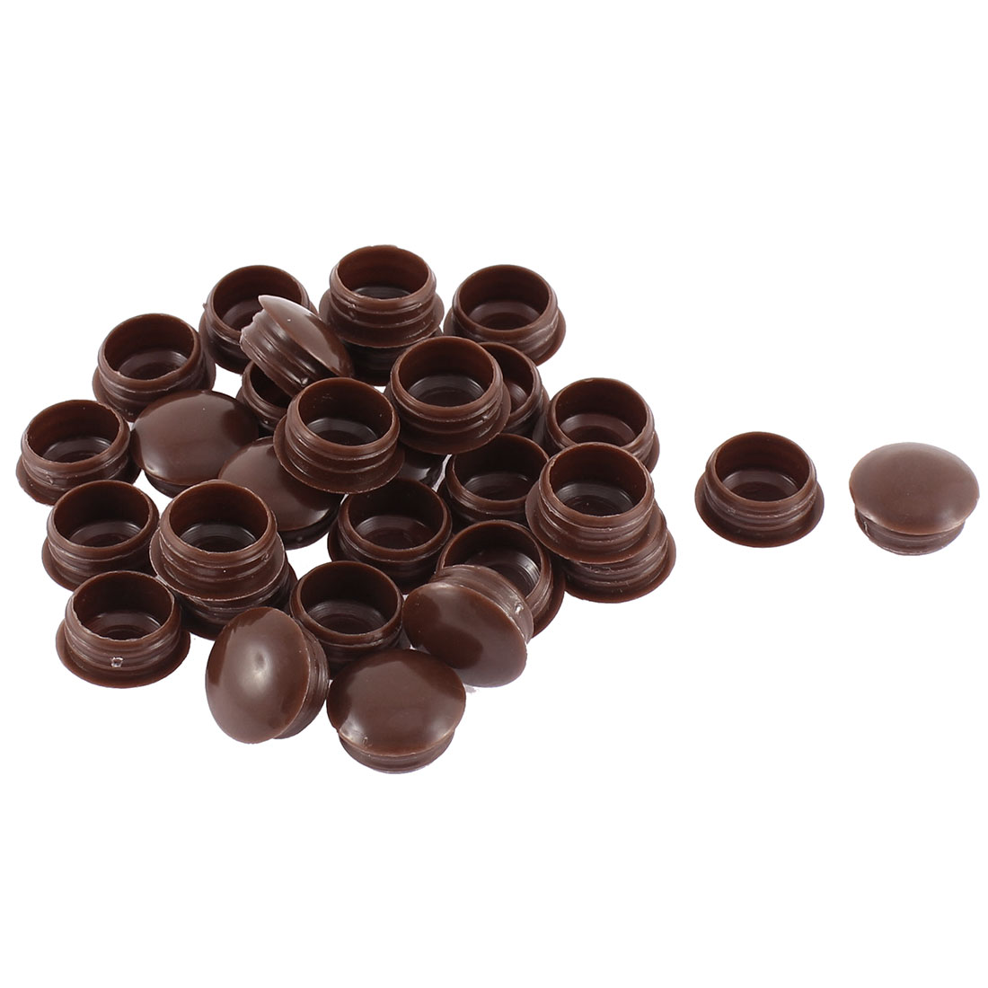 Home Plastic Furniture Decor Hole Cover Caps Tube Insert Coffee Color 30pcs