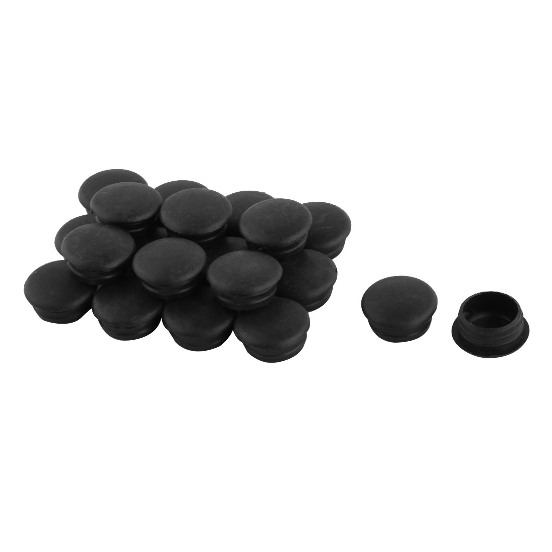 Plastic Furniture Pipe End Locking Hole Cover Tube Insert Black 15mm Dia 20pcs