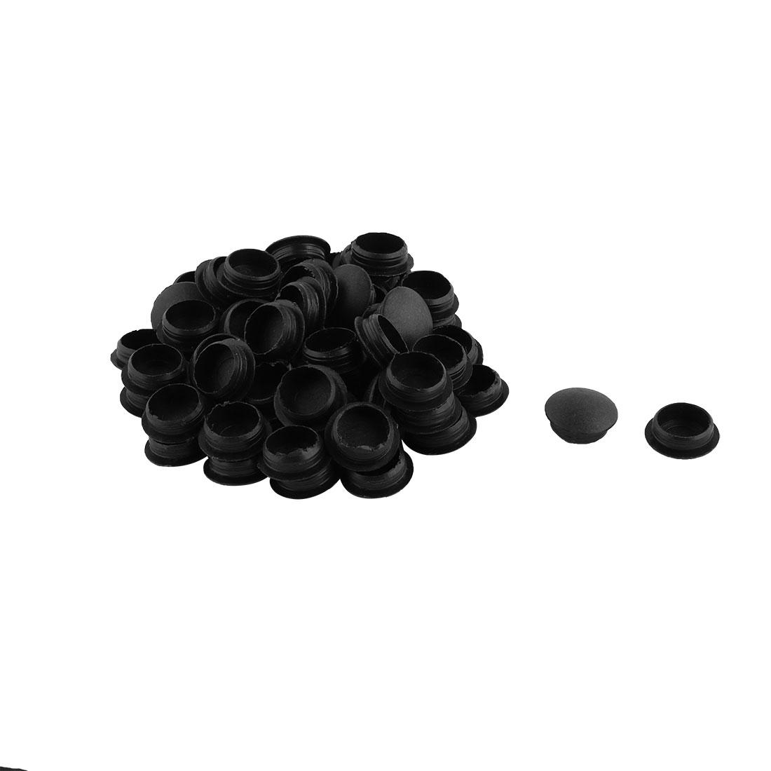 Plastic Flush Type Locking Hole Caps Covers Tube Insert Black 12mm Dia 60pcs