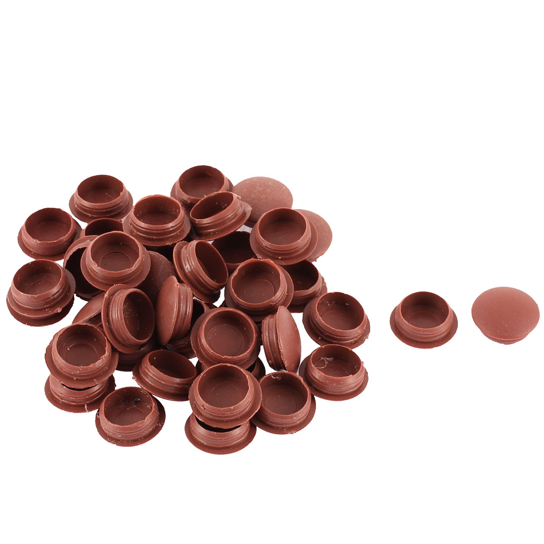 Home Plastic Furniture Pipe End Hole Cover Tube Insert Burgundy 12mm Dia 40pcs