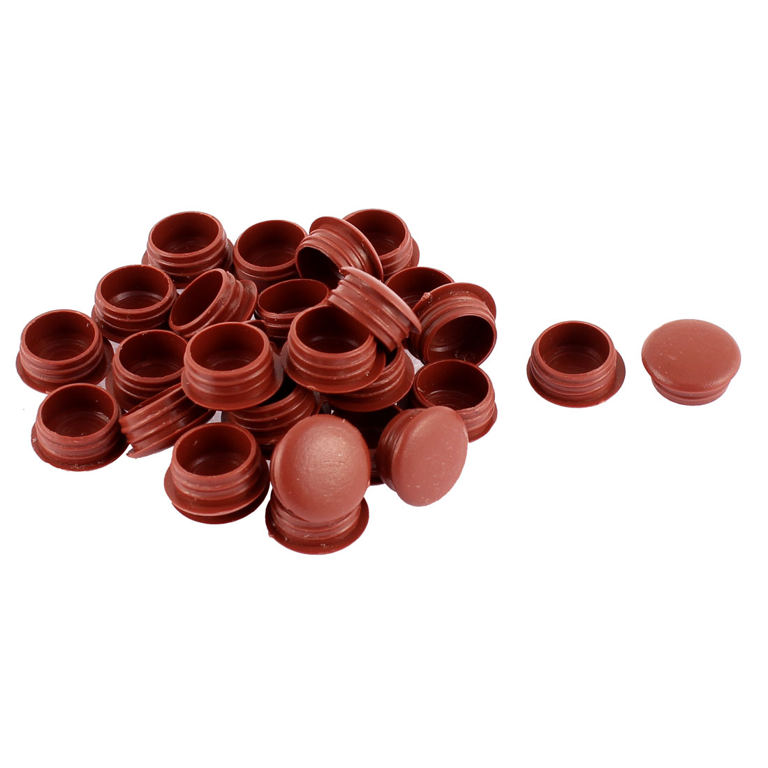 Plastic Flush Type Hole Caps Covers Tube Insert Burgundy 15mm Diameter 30 Pcs