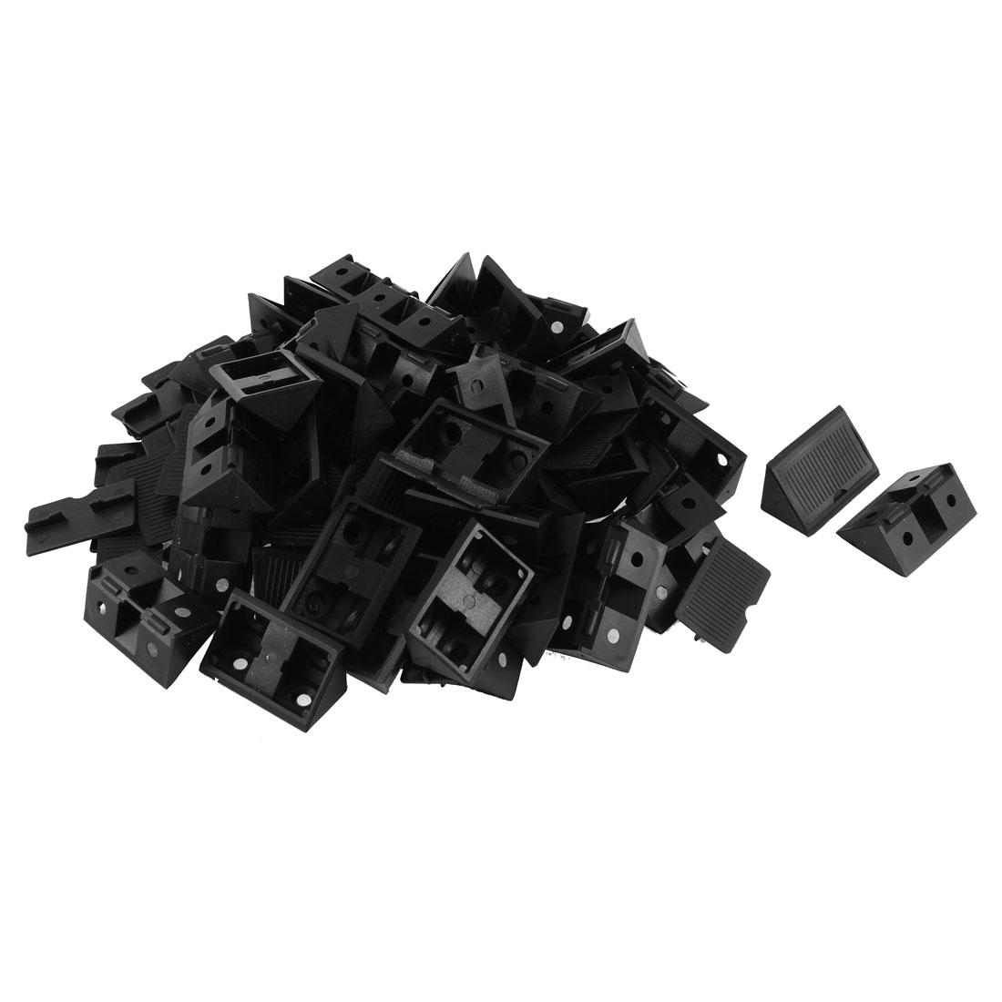 Furniture Cabinet Plastic Angle Bracket Fastener Black 50pcs
