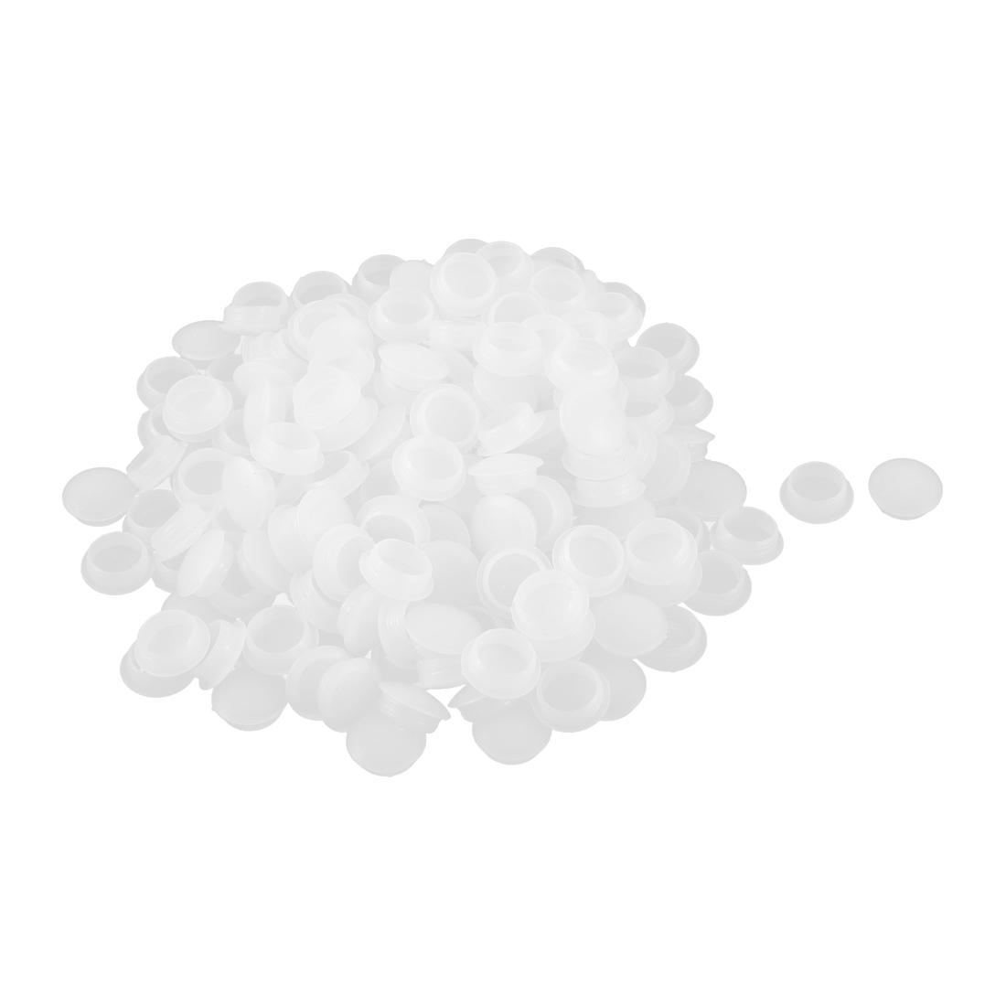 Office Plastic Flush Type Locking Hole Covers Cap Tube Insert Off White 200pcs