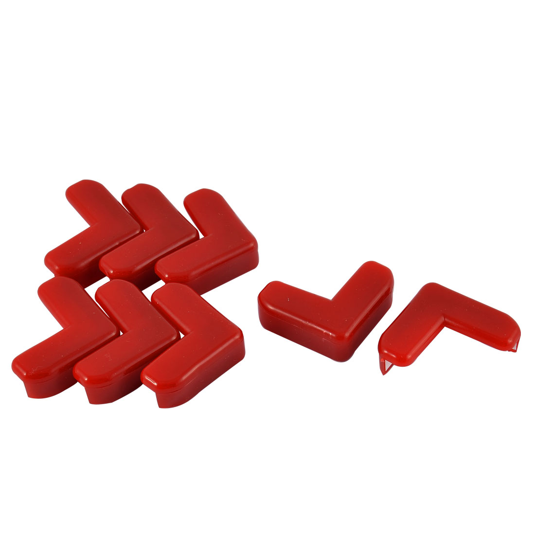 Cabinet Table Corner Rubber Cushion Cover Guard Protector Bumper Pads Red 8pcs