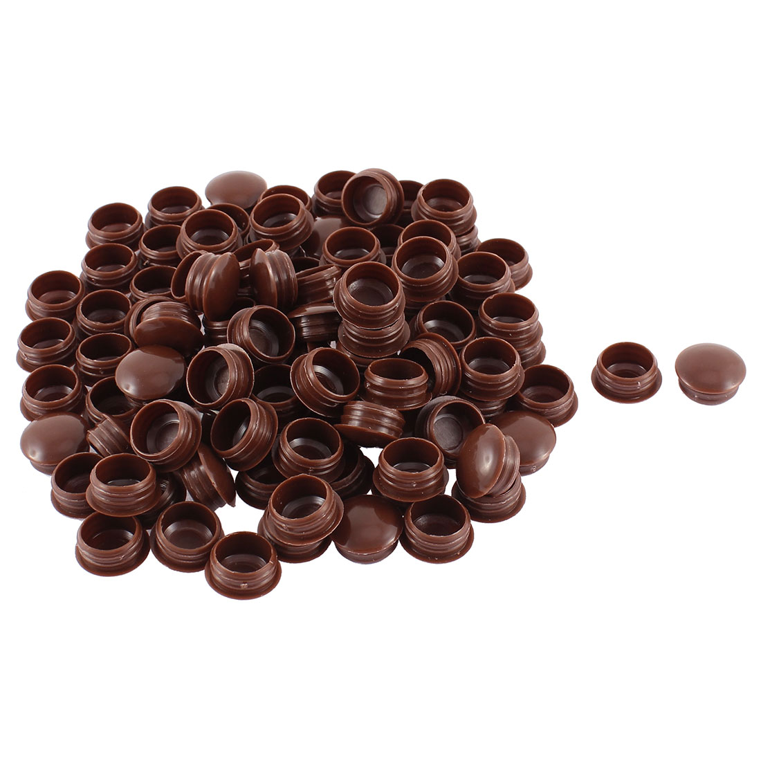 Home Plastic Furniture Decor Flush Type Hole Tube Insert Coffee Color 100pcs