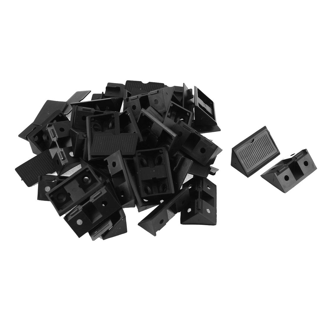 Shelf Cabinet 90 Degree Plastic Corner Braces Angle Brackets Black 30pcs