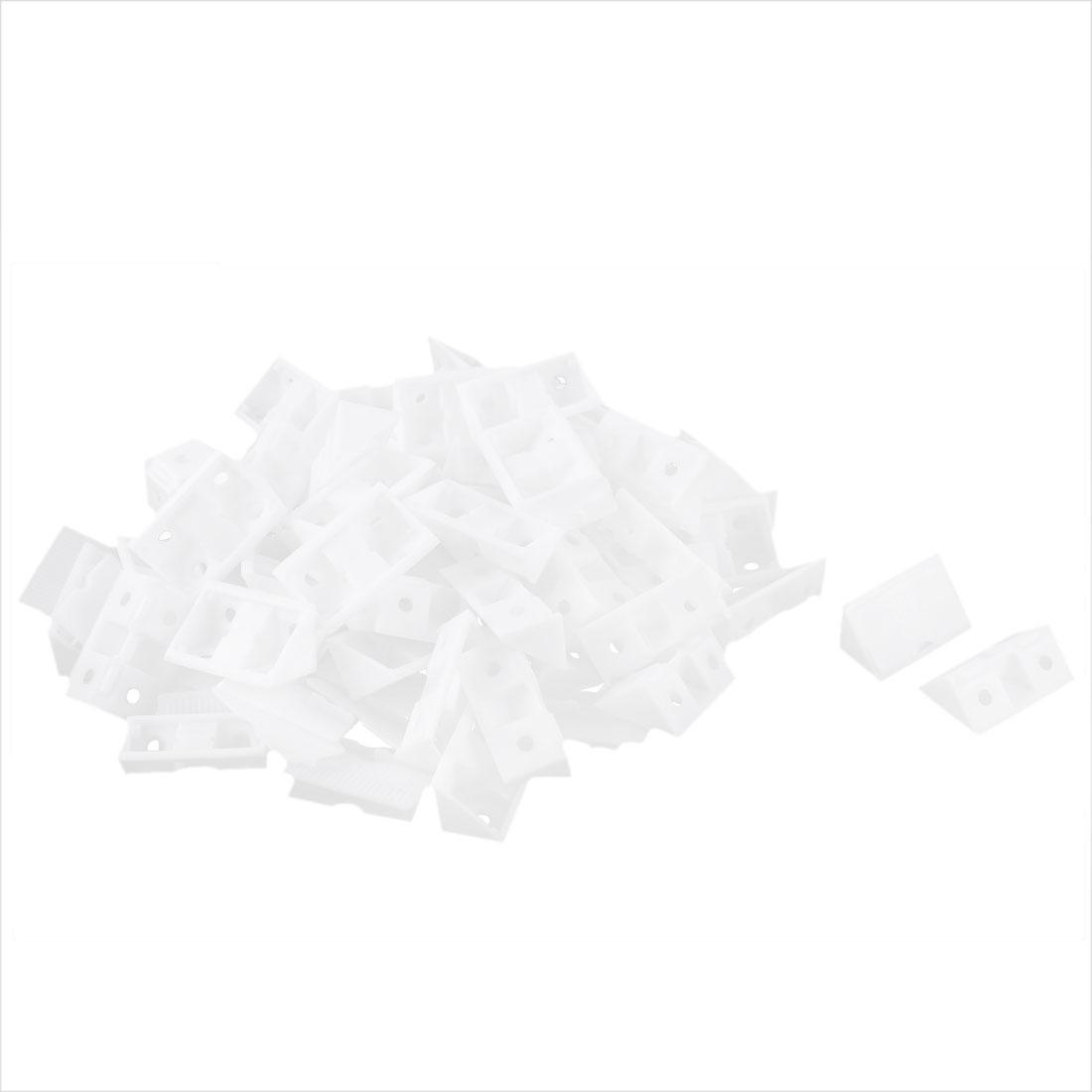 Furniture Shelf Plastic 90 Degree Angle Brackets White 50pcs
