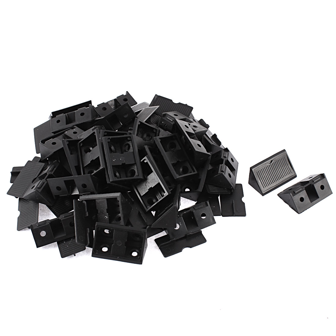 Furniture Shelf Plastic 90 Degree Corner Braces Angle Brackets Black 40pcs