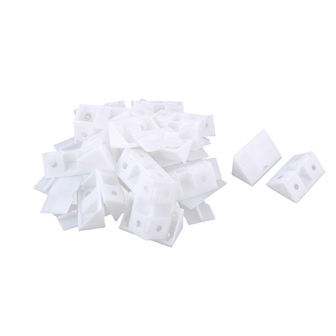 Shelf Cabinet Plastic 90 Degree Angle Brackets White 20pcs