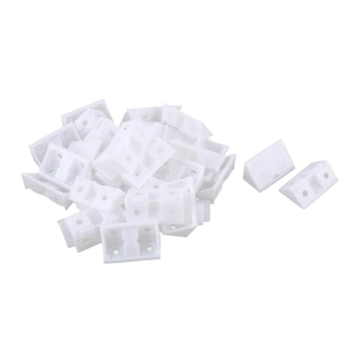 Furniture Cabinet Plastic 90 Degree Angle Brackets White 25pcs