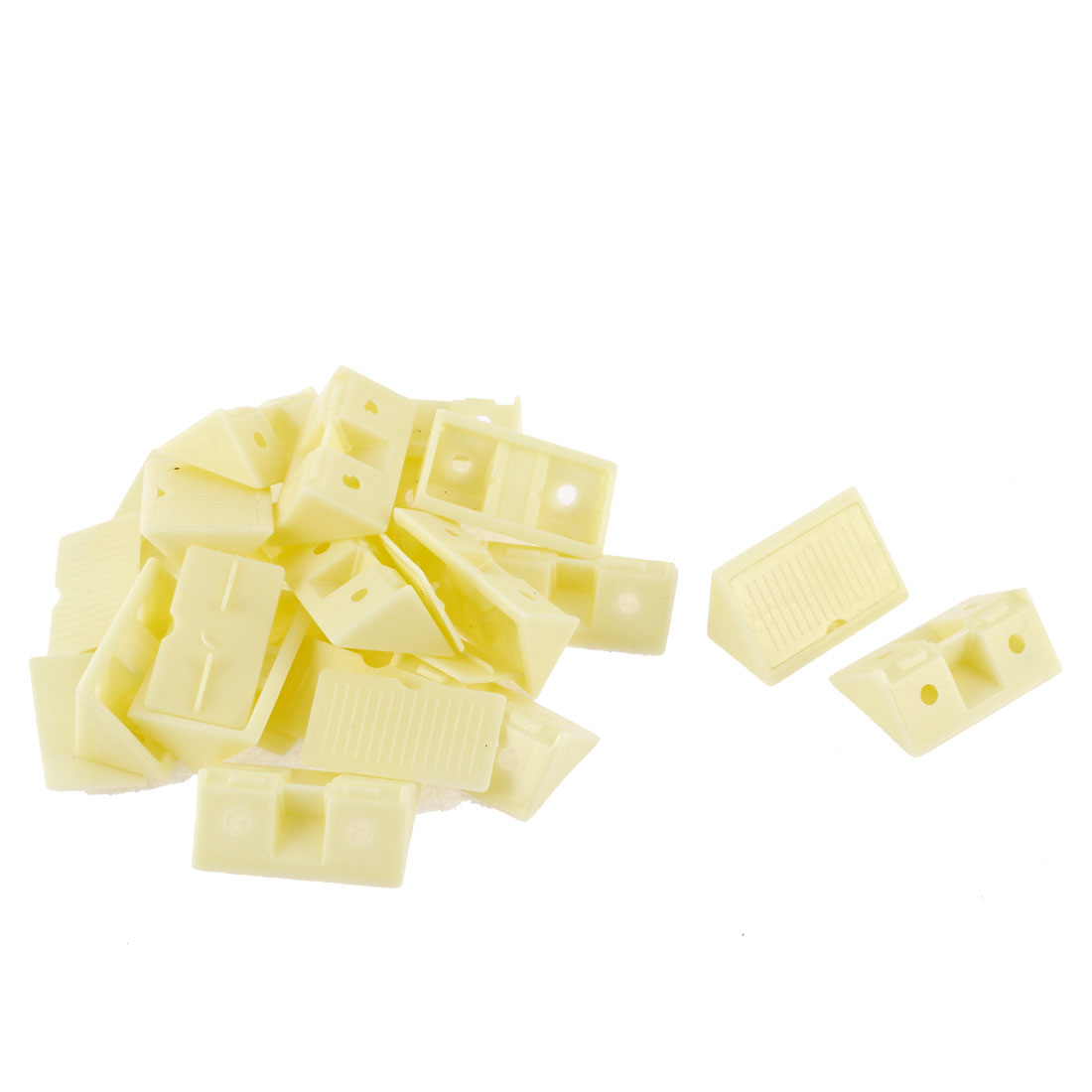 Furniture Shelf Cabinet Plastic 90 Degree Angle Brackets Yellow 15pcs