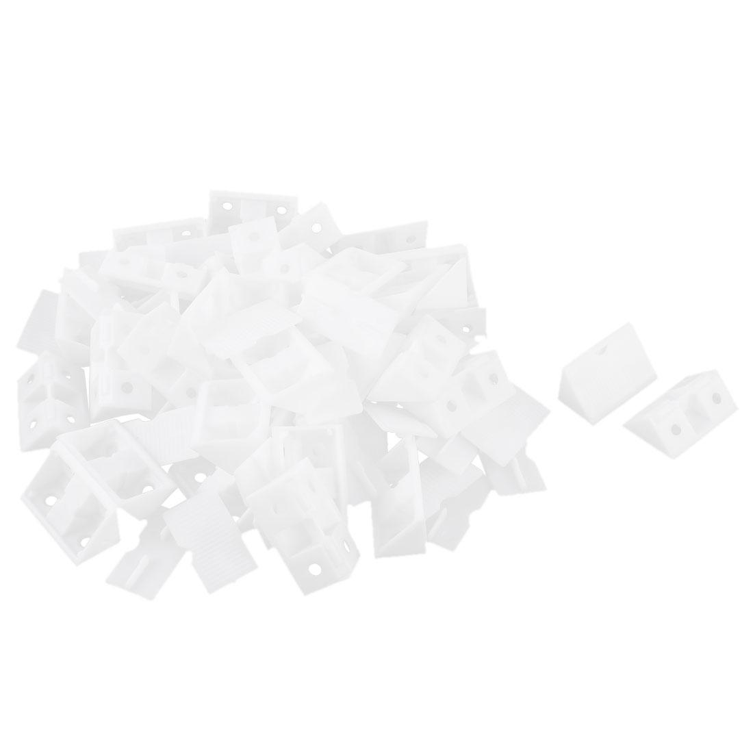 Shelf Cabinet Plastic Corner Braces Angle Brackets White 40pcs