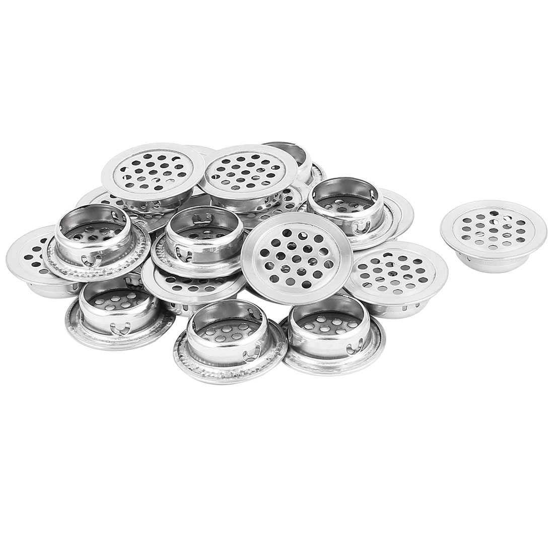 25mm Bottom Dia Mesh Panel Shoes Cupboard Cabinet Air Vent Louver Cover 20pcs