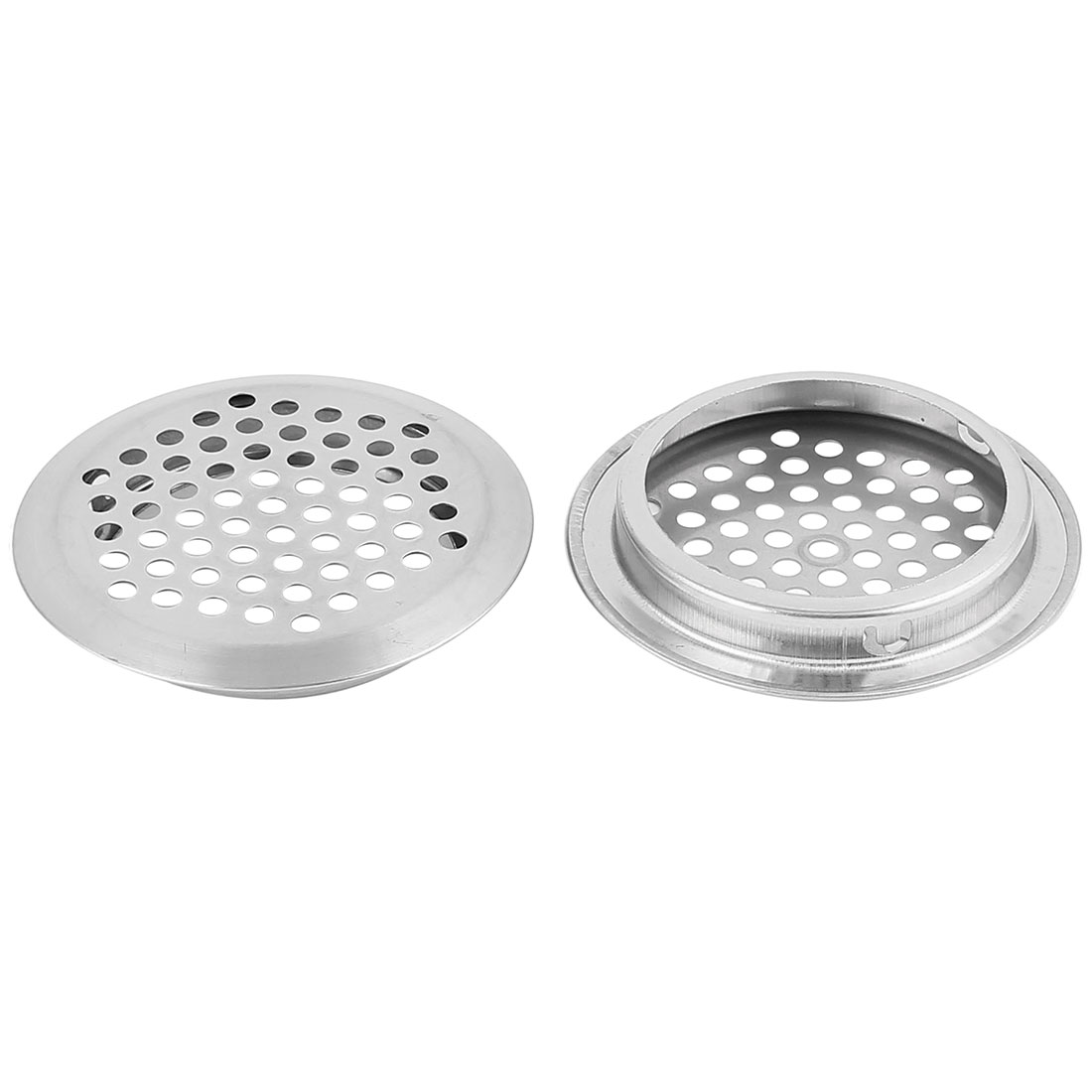 53mm Bottom Dia Round Panel Shoes Cupboard Cabinet Air Vent Louver Cover 2pcs
