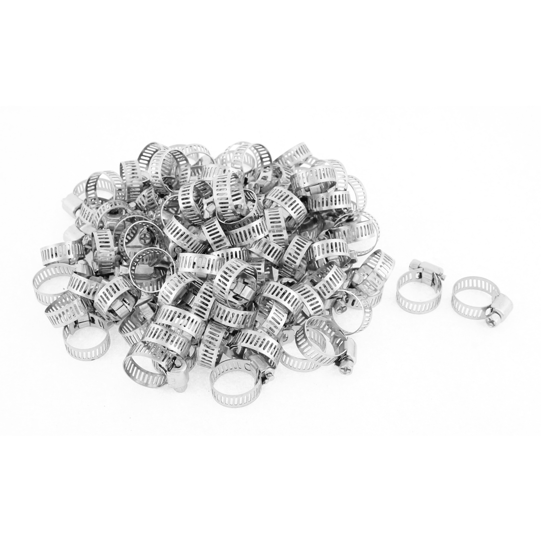 Adjustable 13-19mm Range Band Stainless Steel Worm Drive Hose Clamp 100pcs