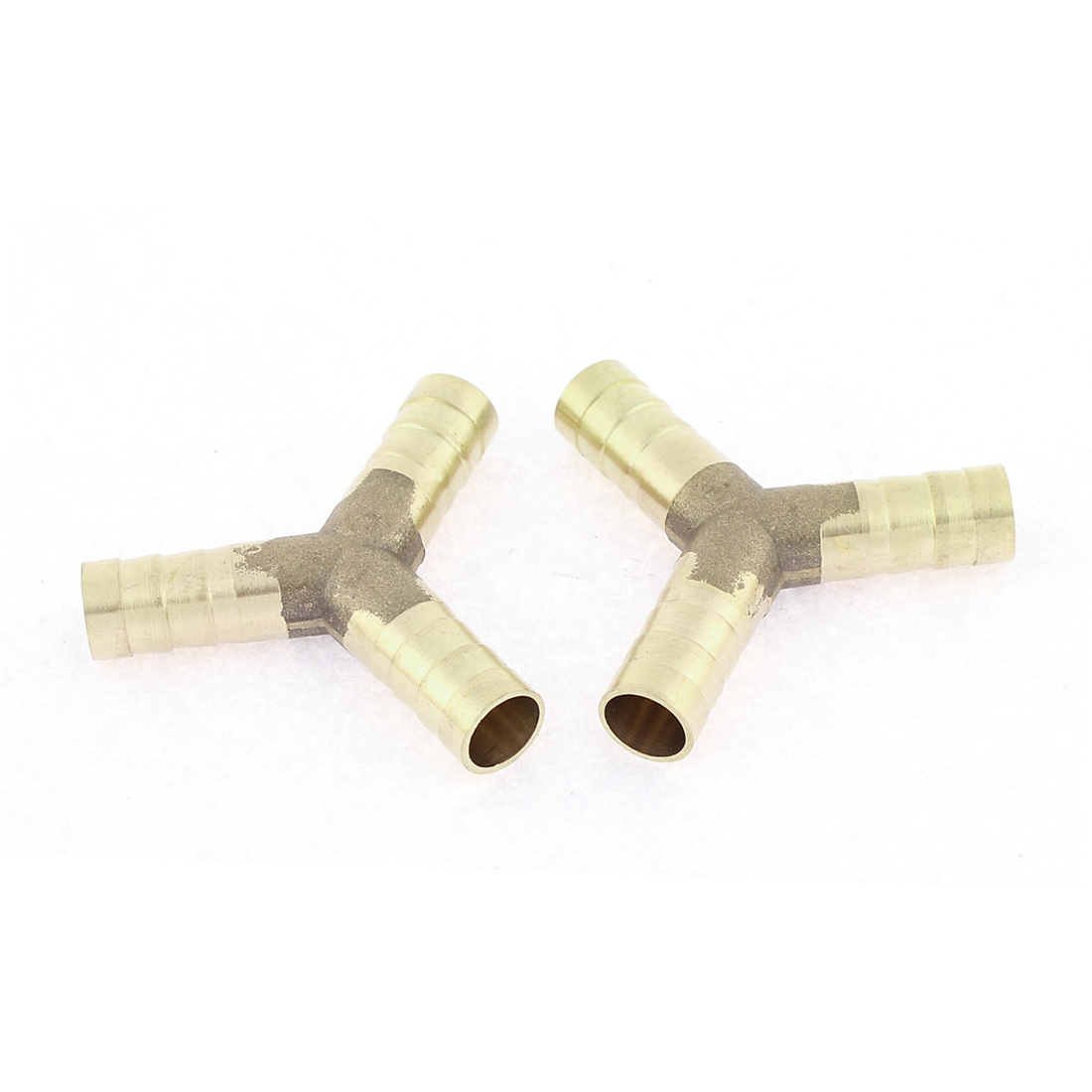 "Brass 3 Way Equal 3/8"" Hose Barb Air Gas Y Shaped Connector Gold Tone 2pcs"