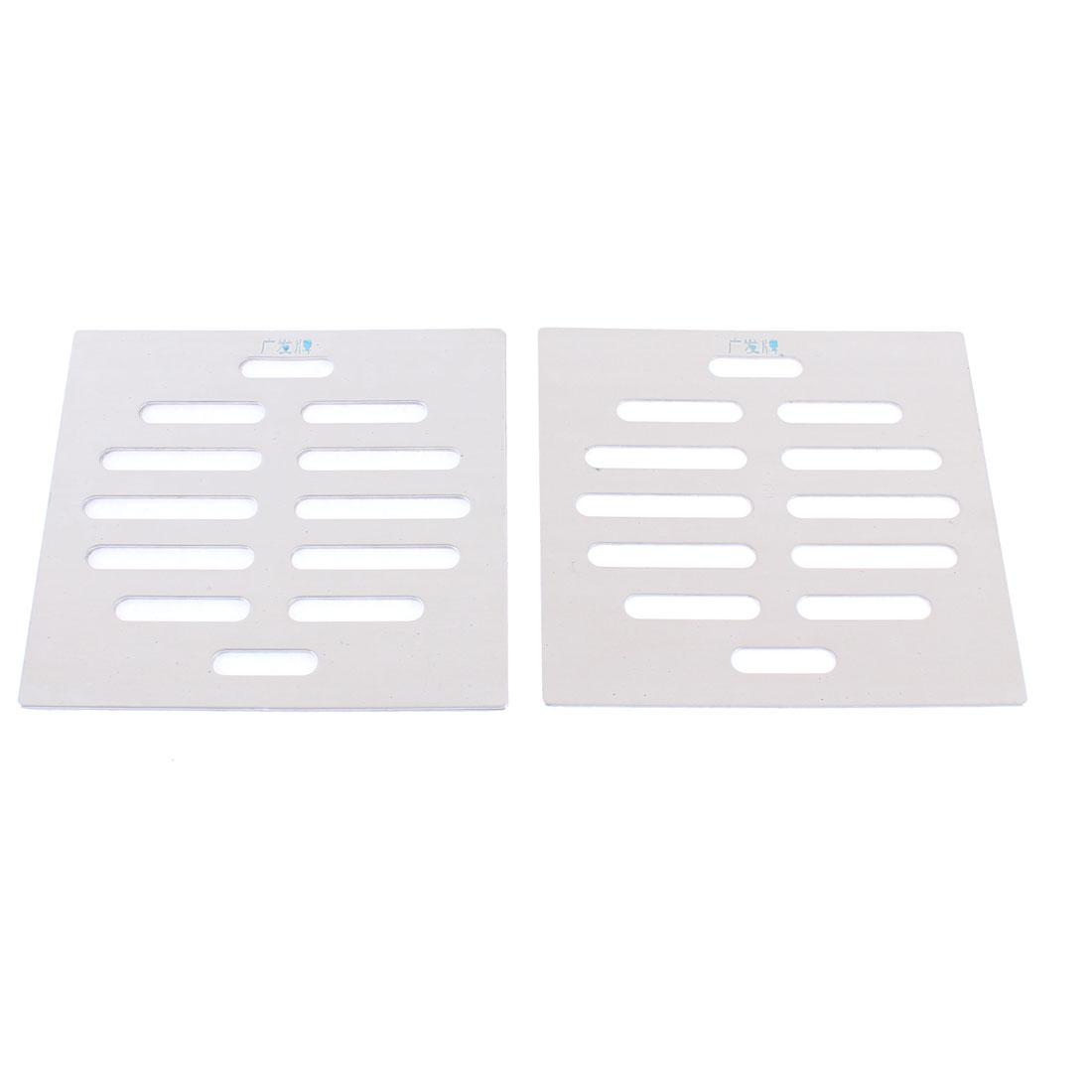 "Stainless Steel Kitchen Bathroom Square Floor Drain Cover 4"" 10cm 2pcs"