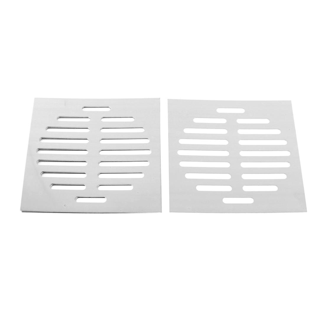 "Stainless Steel Kitchen Bathroom Square Floor Drain Cover 6"" 15cm 5pcs"