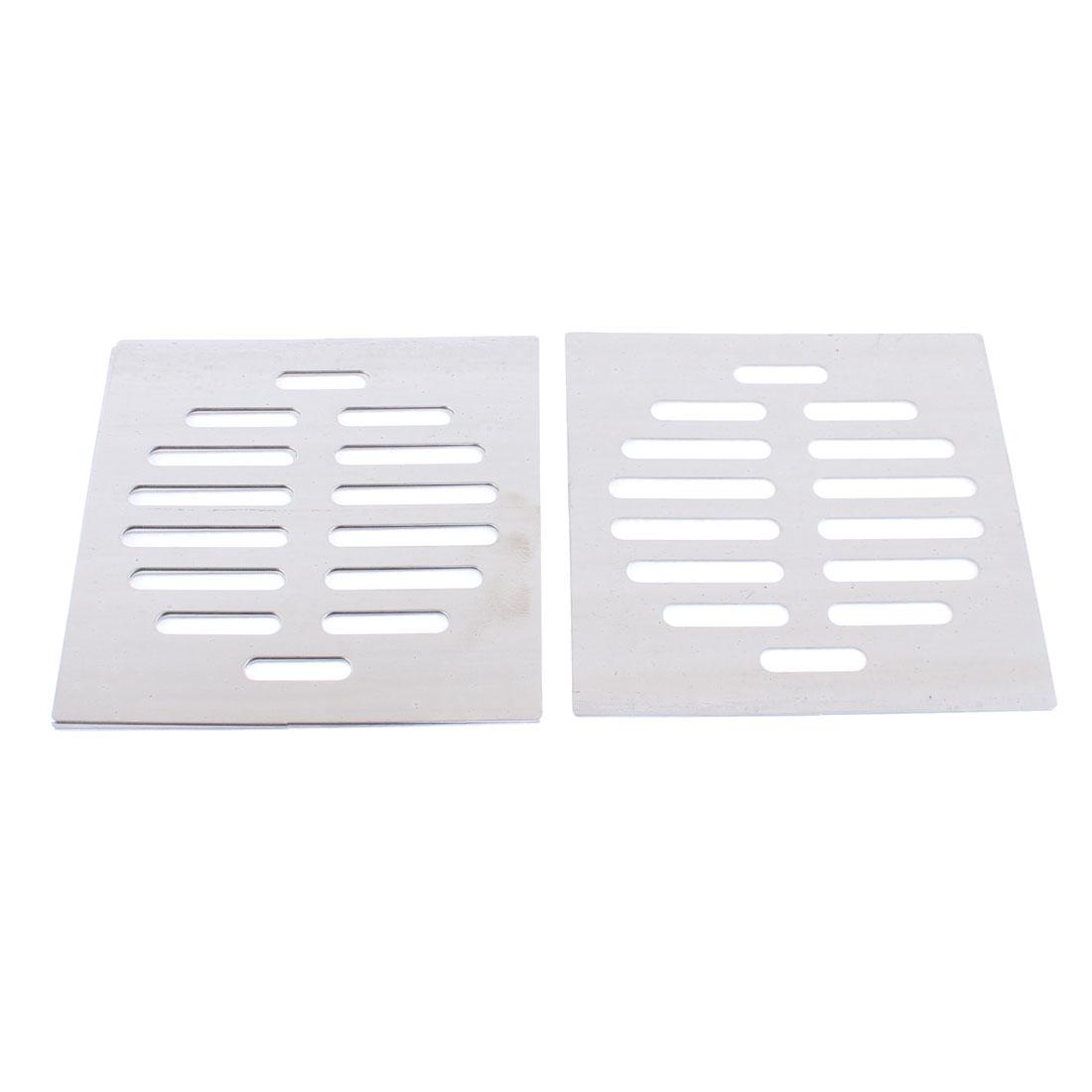"Stainless Steel Kitchen Bathroom Square Floor Drain Cover 4.4"" 11.3cm 3pcs"