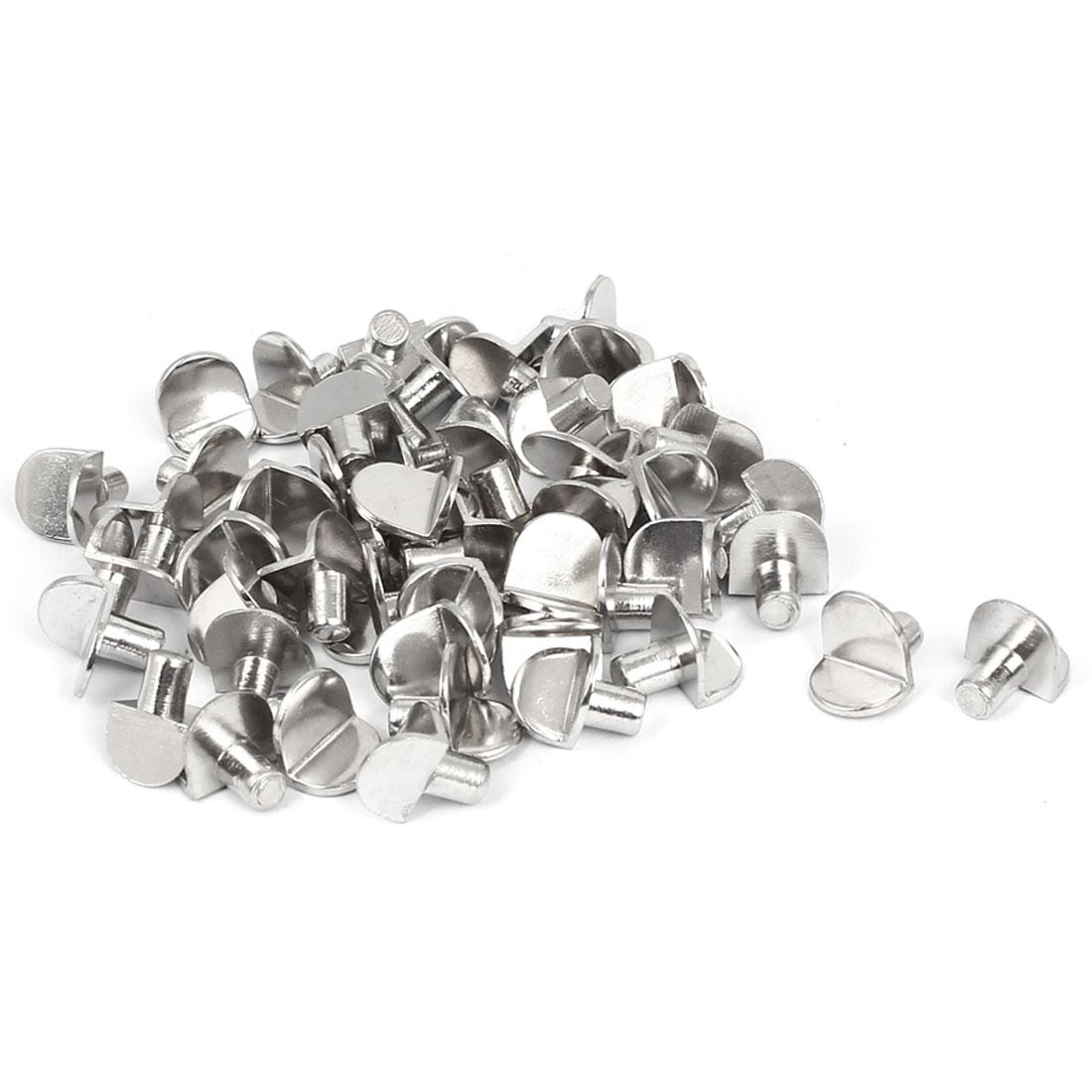 Cabinet Push-in Type 5mm Peg Alloy Shelf Support Bracket Silver Tone 50 Pcs