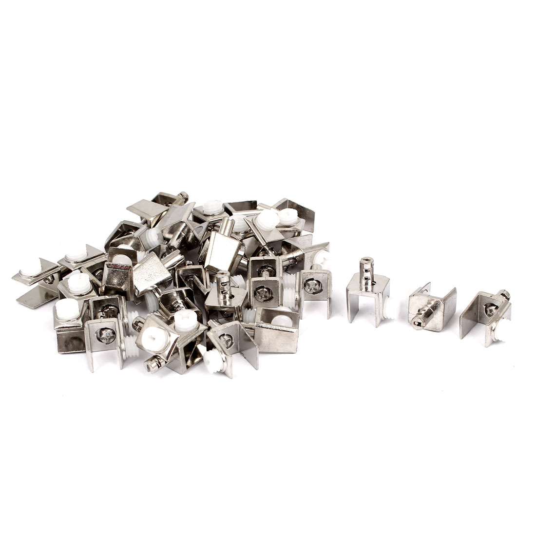 Cabinet Door Adjustable 3mm-8mm Thickness Glass Clips Clamps Support 40 Pcs
