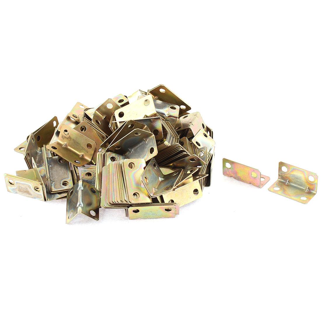 Corner Brace Joint Right Angle Bracket Support Brass Tone 16x16x32mm 200pcs