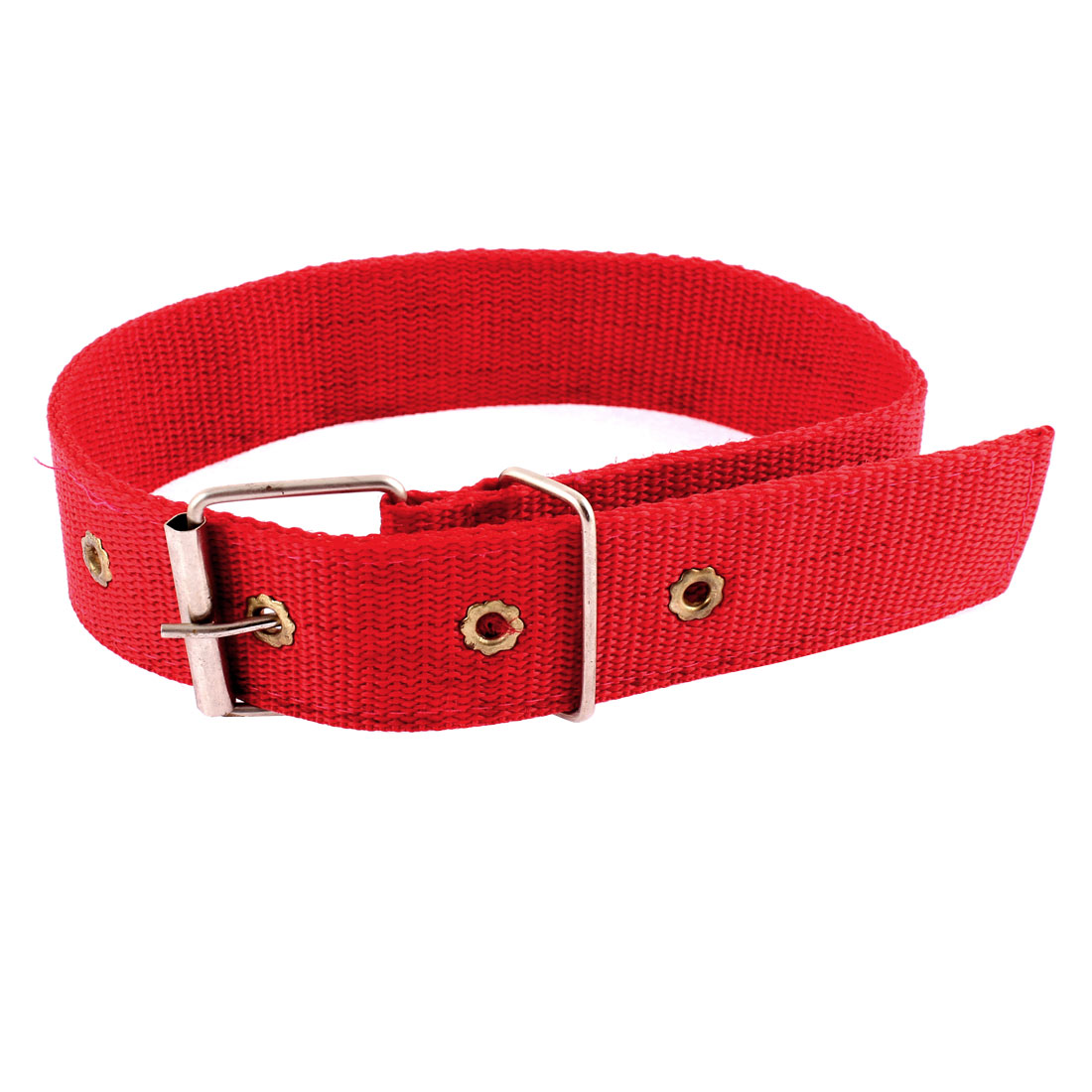 Pet Dog Dual Layer Metal Buckle Adjustable Lead Harness Belt Collar Red