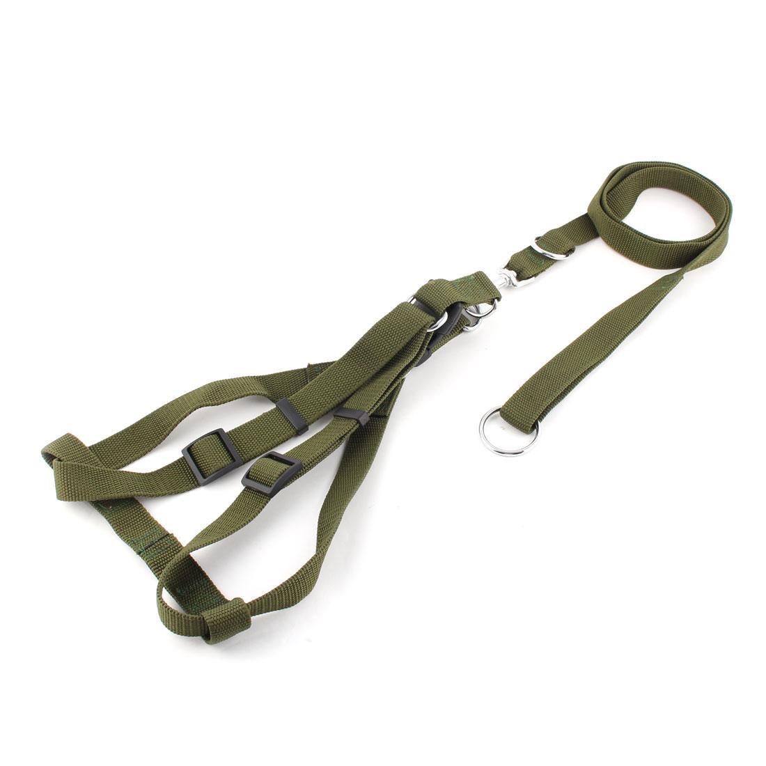Pet Dog Doggie Nylon Rope Lead Adjustable Harness Leash Neck Collar Army Green