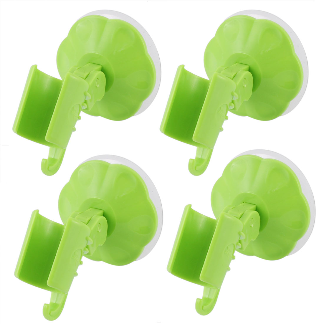 4pcs Attachable Bathroom Shower Head Holder Wall Suction Cup Bracket Green