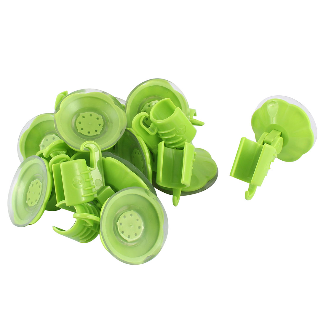10pcs Attachable Bathroom Shower Head Holder Wall Suction Cup Bracket Green