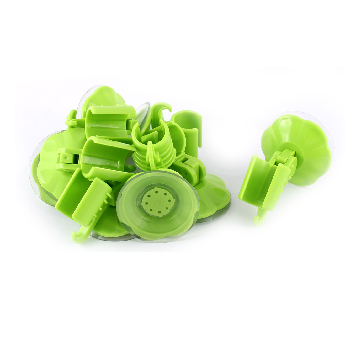 8pcs Attachable Bathroom Shower Head Holder Wall Suction Cup Bracket Green