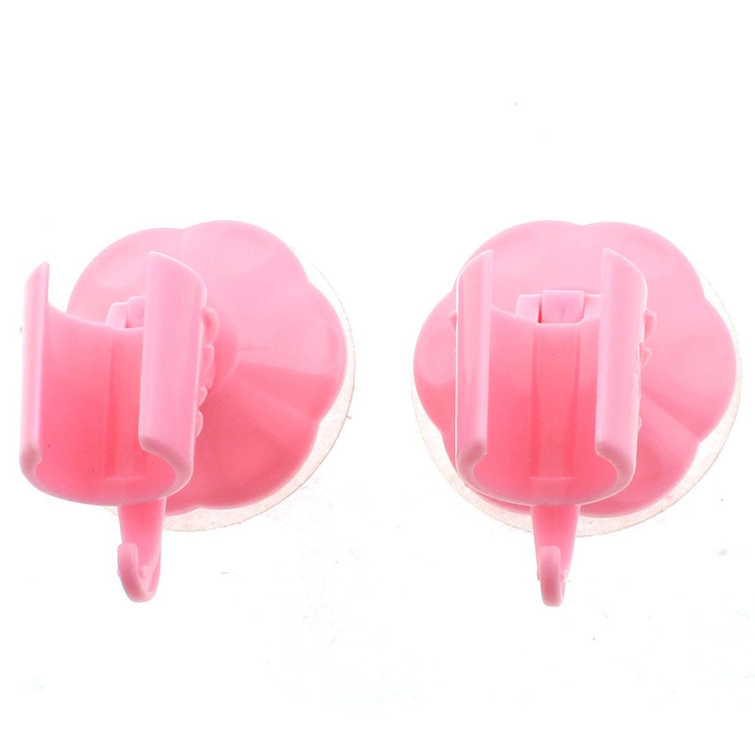 Home Bathroom Adjustable Suction Cup Shower Head Holder Pink 2pcs