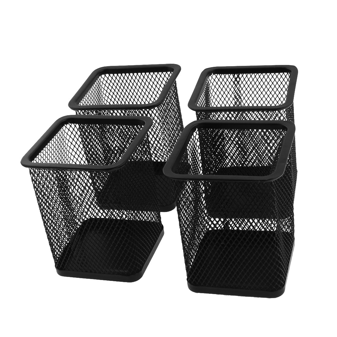 Office Desk Metal Mesh Stationery Pencil Pen Holder Container Black 4pcs
