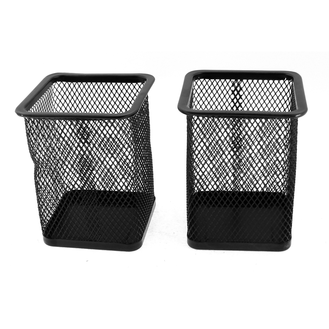 Office Desk Students Metal Mesh Pencil Pen Holder Container Black 2pcs