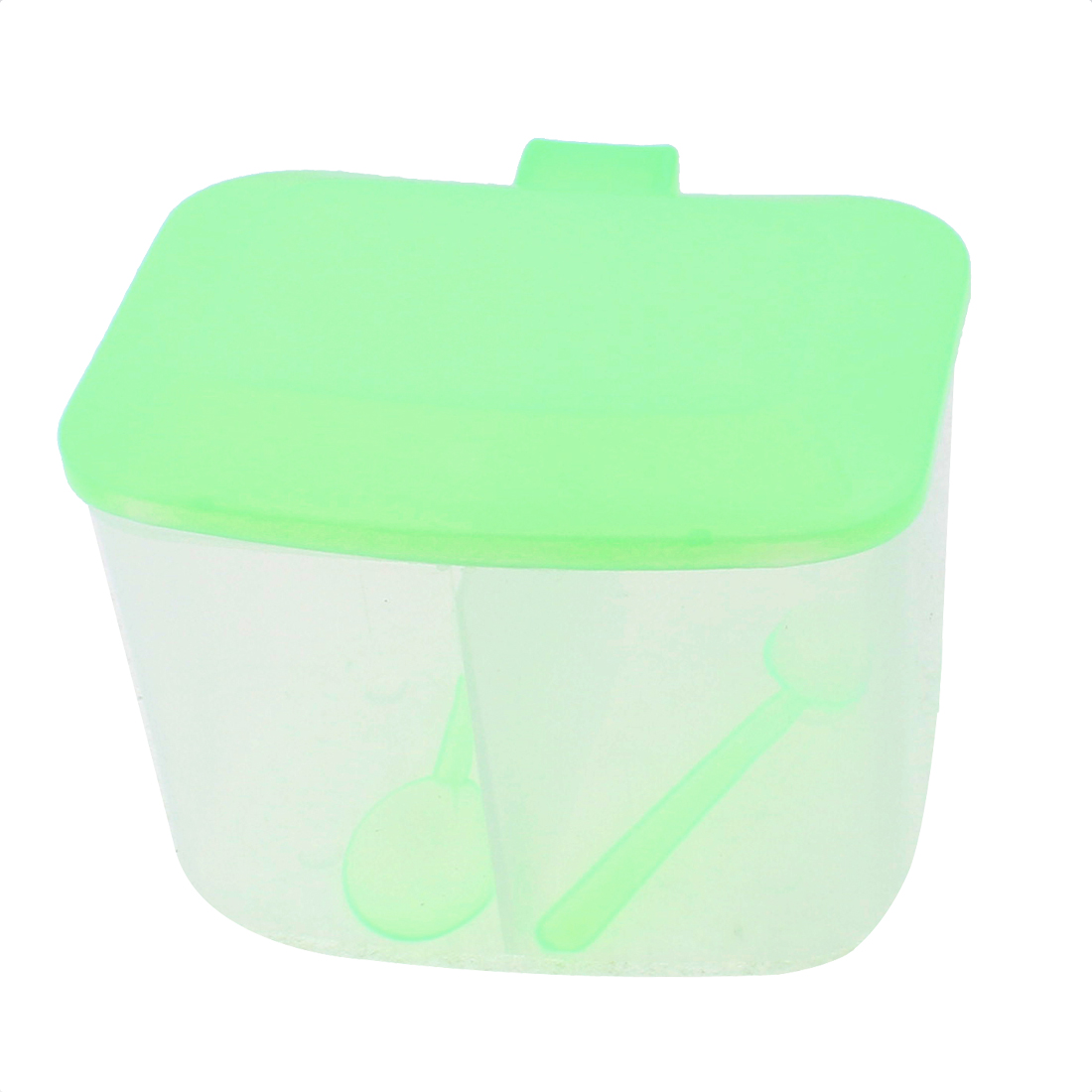 Plastic 2 Compartments Condiment Container Holder Light Green w 2pcs Spoons