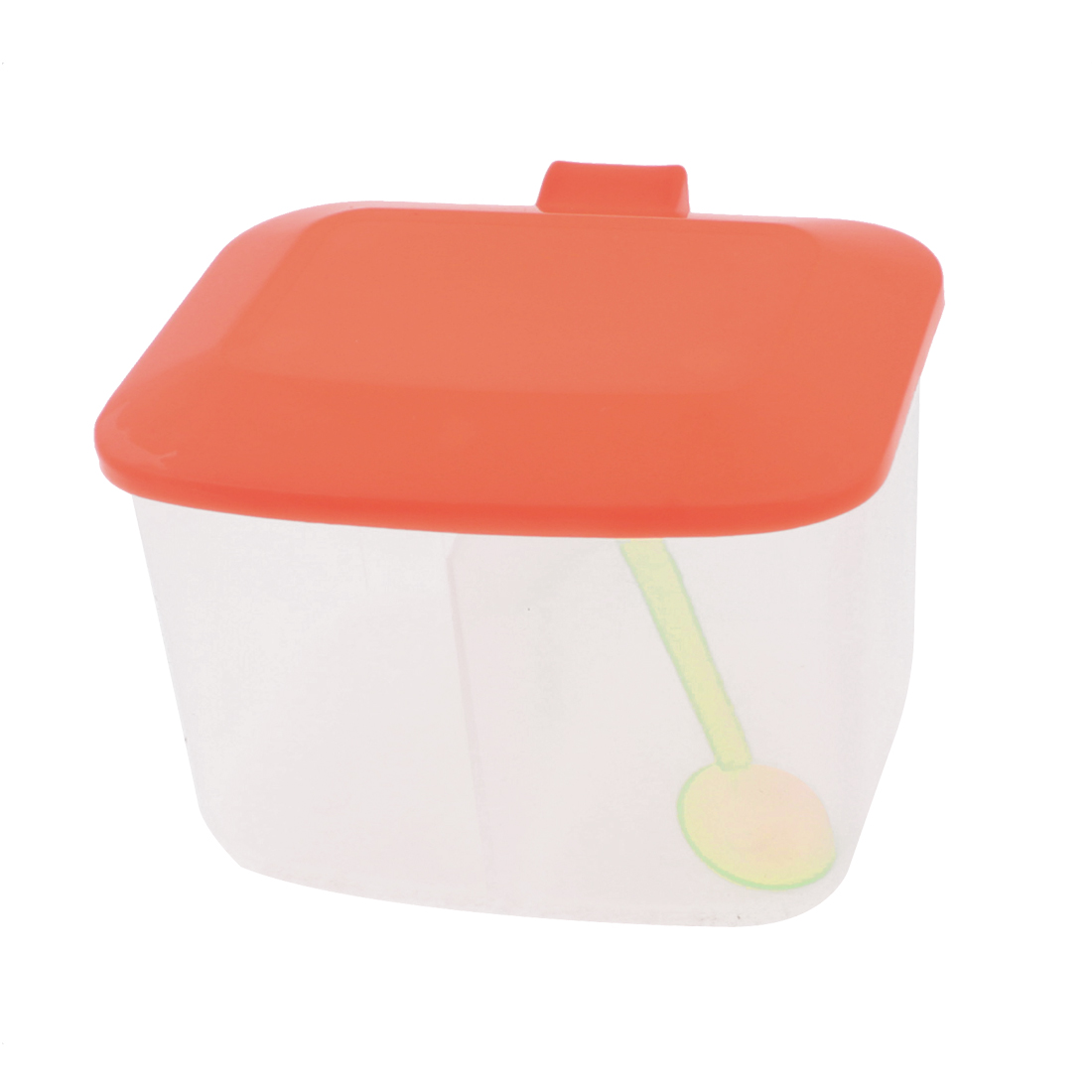 Kitchen Plastic 2 Compartments Salt Condiment Container Box w 2 Spoons