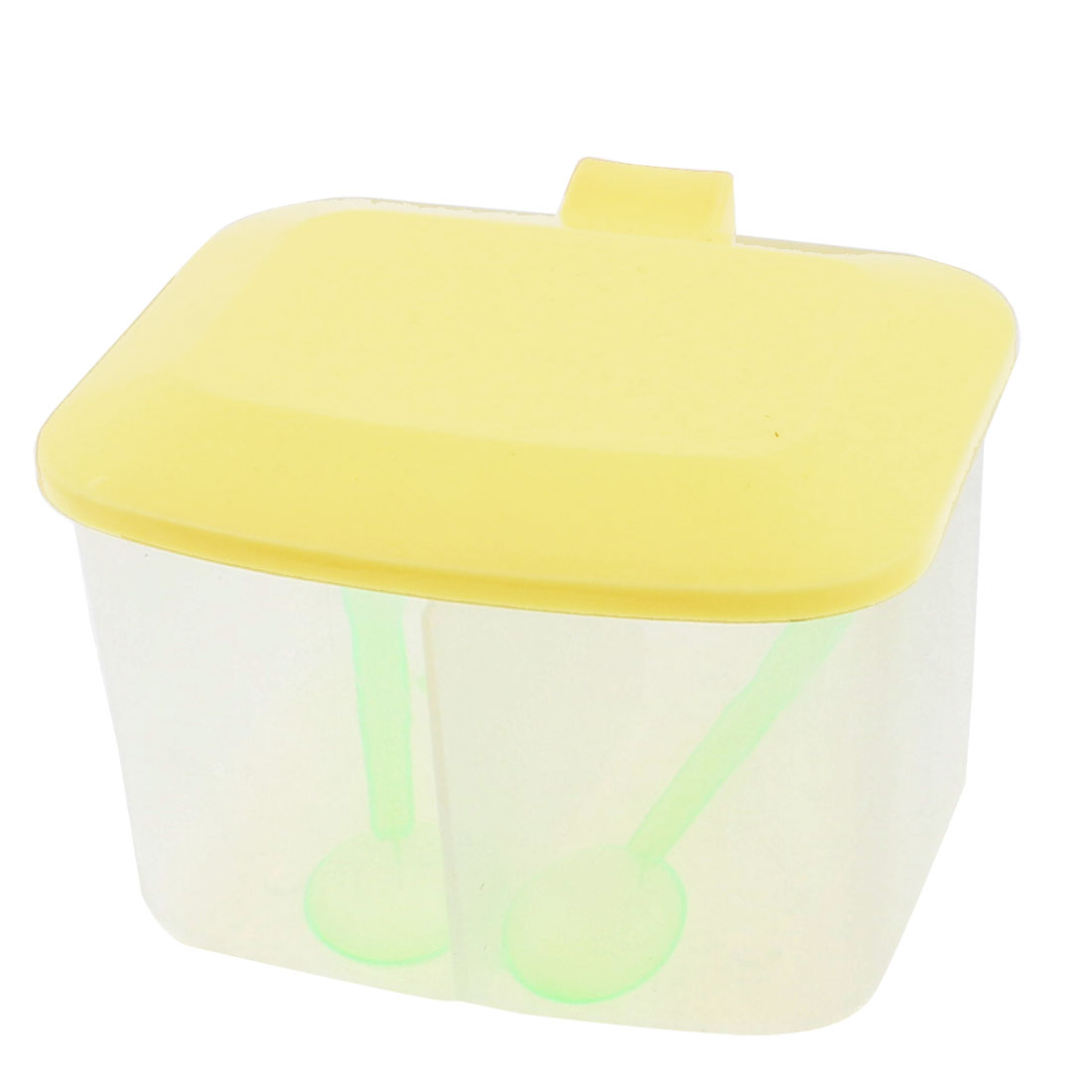 Plastic 2 Compartments Condiment Container Holder Box Yellow w 2pcs Spoons