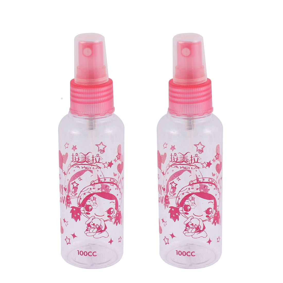 Girls Make Up Liquid Plastic Cartoon Patten Spray Bottle Pink 100ml 2pcs