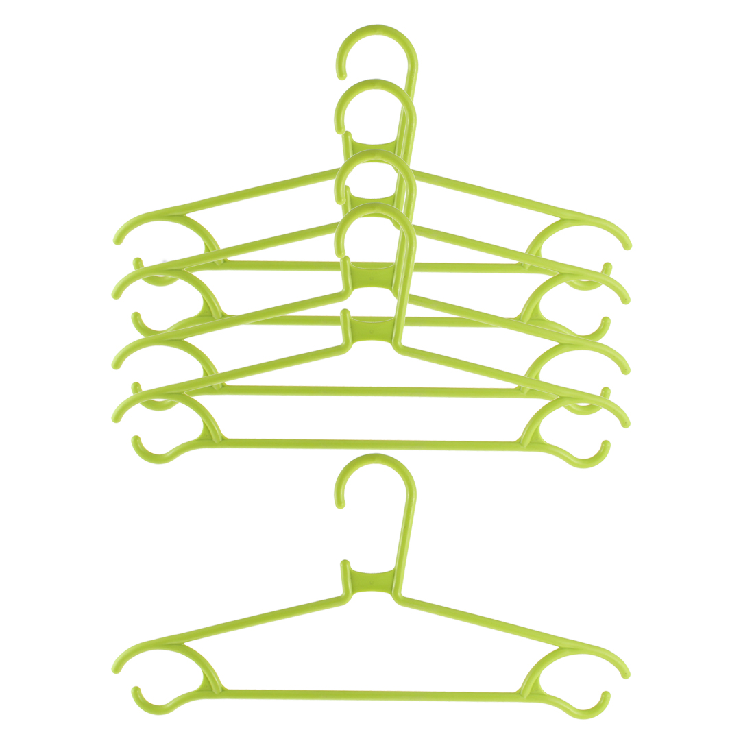 5pcs Household Home Plastic Space Saving Clothes Clothing Hanger Green