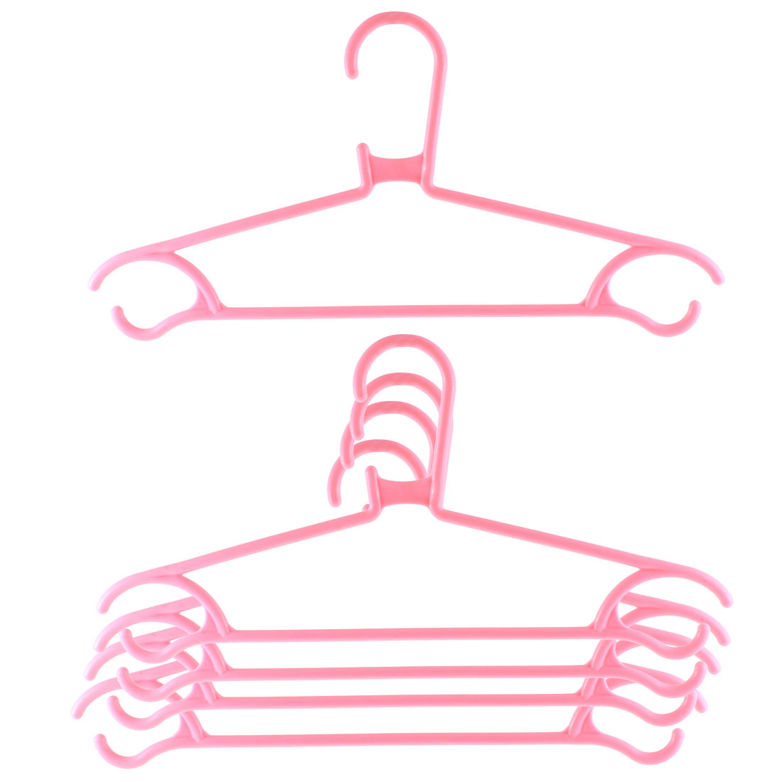 5pcs Household Home Plastic Space Saving Clothes Clothing Hanger Pink