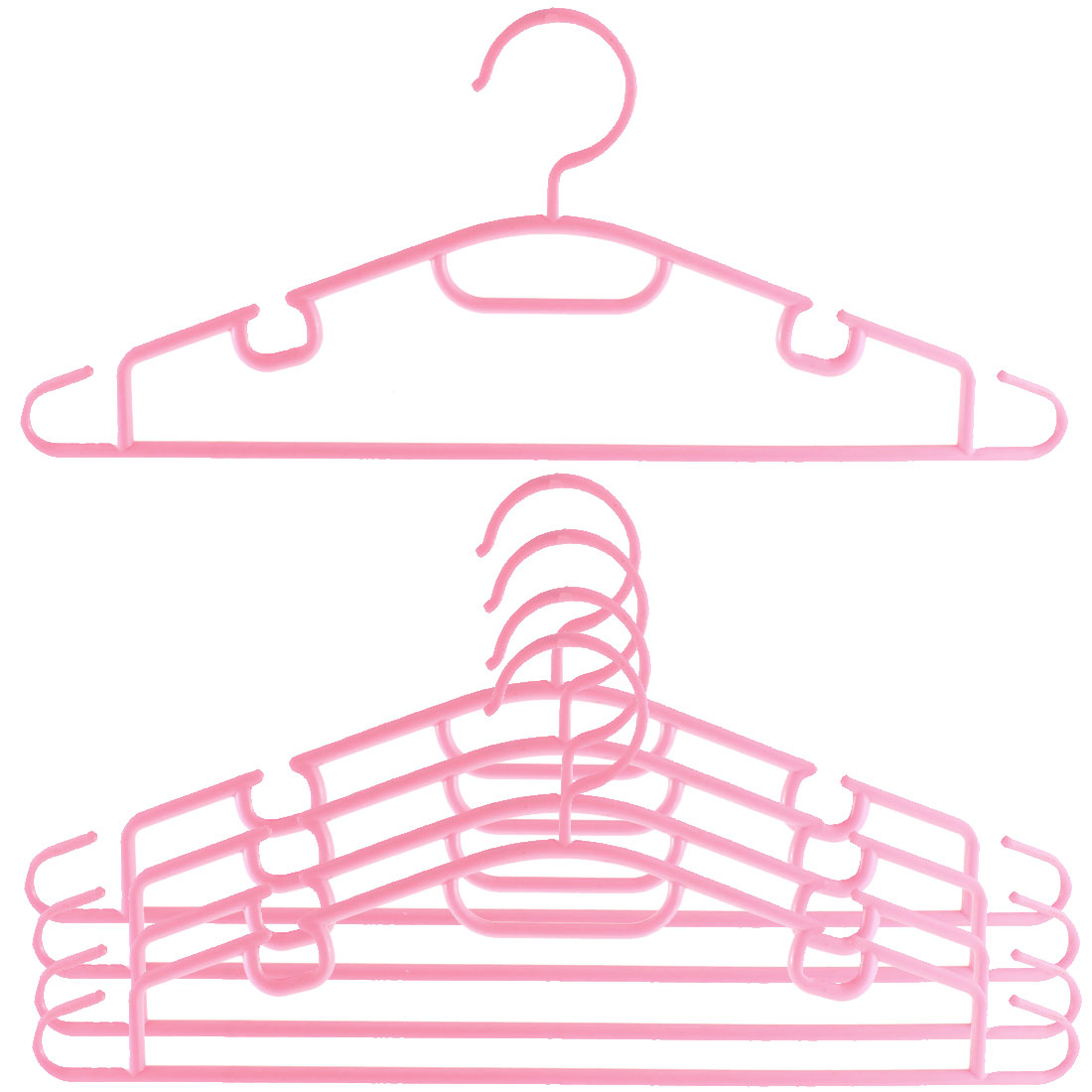 5pcs Plastic Space Saving Non-Slip Household Clothes Clothing Hanger Pink