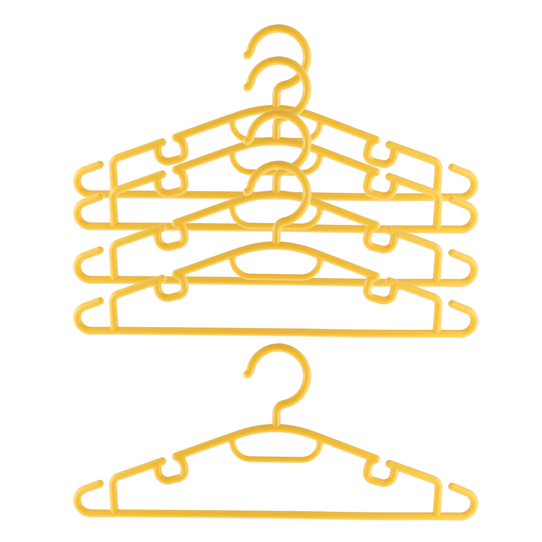5pcs Plastic Space Saving Non-Slip Household Clothes Clothing Hanger Yellow