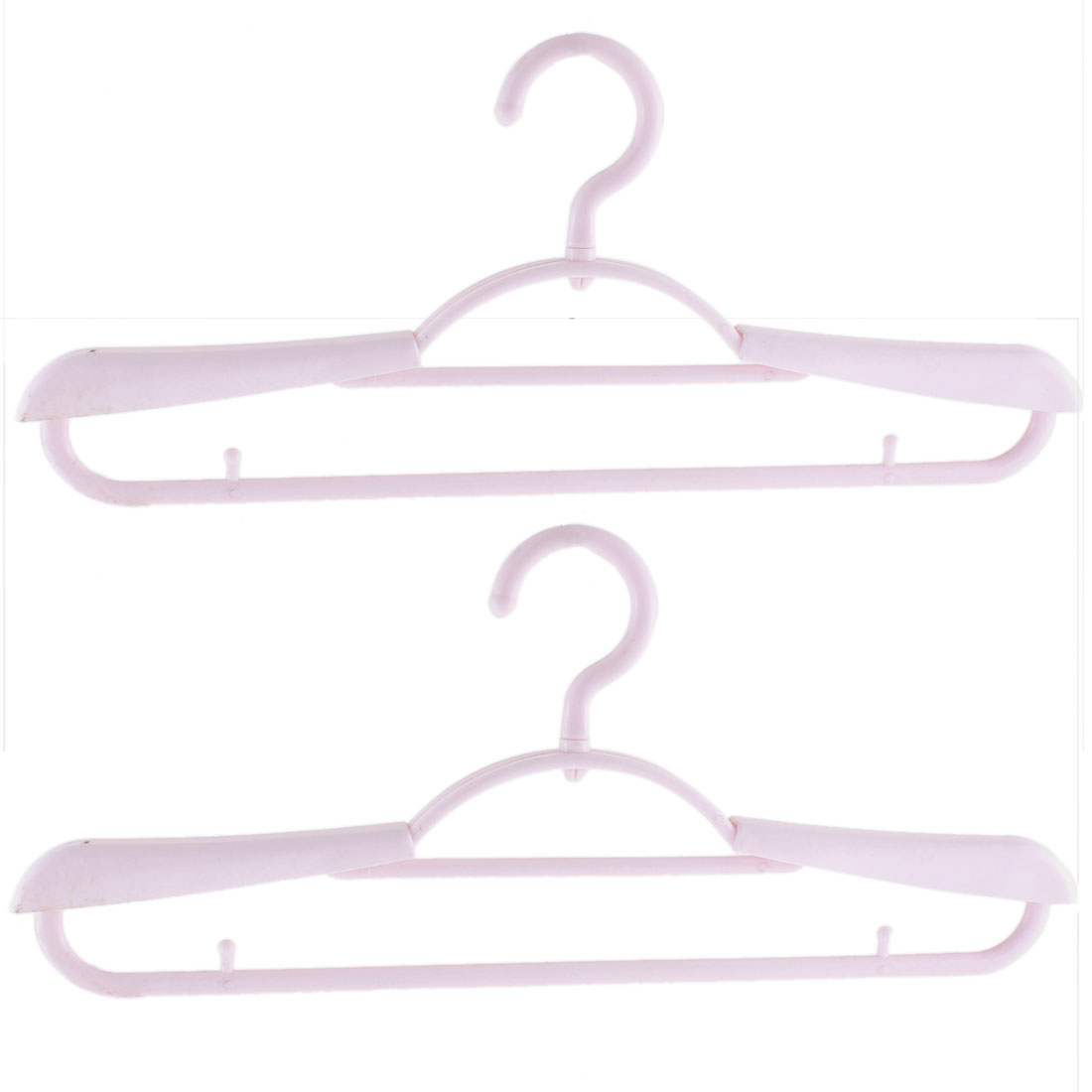 2pcs Plastic Space Saving Non-Slip Household Clothes Clothing Hanger Pink