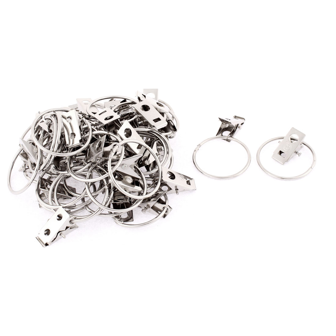 40pcs 32mm Dia. Stainless Steel Window Curtain Clip Hook Drapery Wire Rod Rings